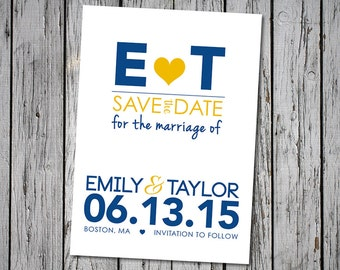 Minimalist Wedding Save-the-Date, Navy and Yellow, Nautical, Customizable Colors, Printable Digital File, DIY