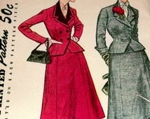 50s Sewing Pattern Dress  UNCUT Double Breasted Suit Shirt Jacket  Size 18 Bust 36 Simplicity 4020
