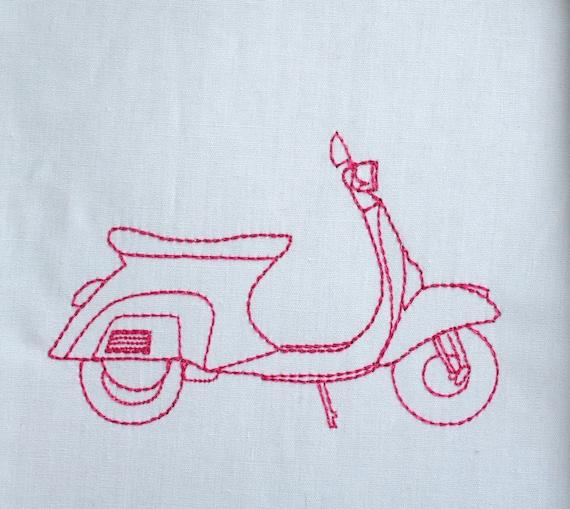 Vespa machine embroidery design download modern