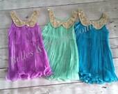 Orchid - Pleated Chiffon Dress - Girls Dress - Sequin Collar Dress - Photo Prop - Birthday Dress - Crowning Dress - Flower Girl - Princess
