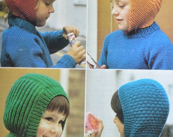 PDF four hats helmet hat vintage knitting pattern pdf download pattern only pdf 1970s