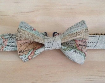 Wanderlust world map bowtie