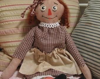 Primitive Folk Raggedy Annie Doll, FAAP. OFG