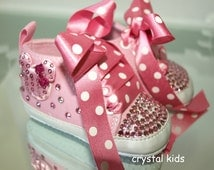 Gorgeous Pink Sparkly Minnie Mouse Baby Girls Shoes Reborn Boots Pram Shoes 0-6, 6-9, 9-12 Months BRAND NEW in box