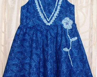 Cotton Dress, Embroidery, Crochet, Flowers, Blue, Hair band, Bracelet, Boho, lined top for maximum comfort, hand washable.
