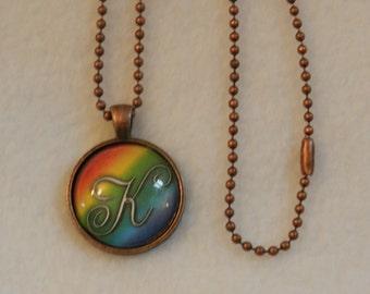 Lovely Scripted  Initial Bronze Pendant V1