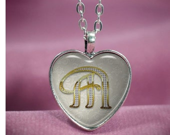 Beautiful Silver Heart with Initial Glass Cabochon Necklace V1