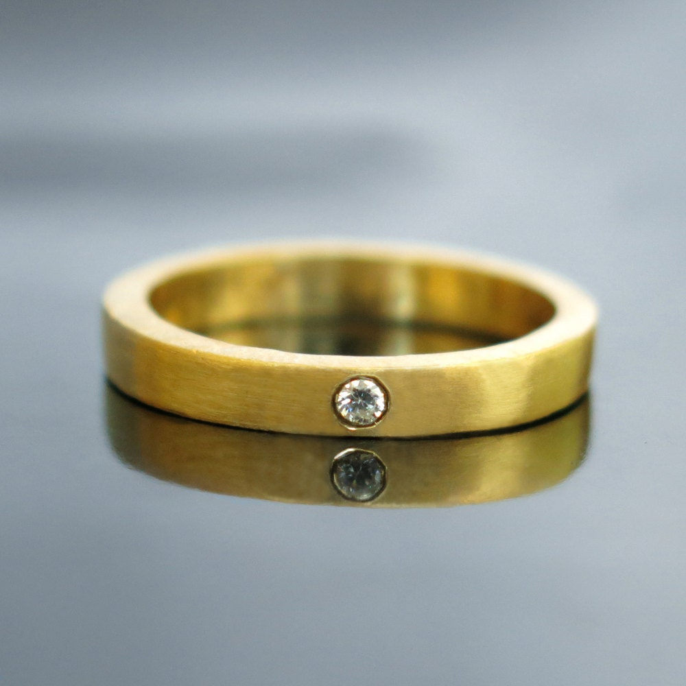 Contemporary Bands: Gold Diamond Wedding Band Modern Diamond Engagement Ring