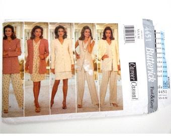 Long jacket blazer / 90s womens suit /vest/straight leg pants/vintage sewing pattern, Size 6 8 10 12 14, Bust 30 31 32 34 35, Butterick 4451