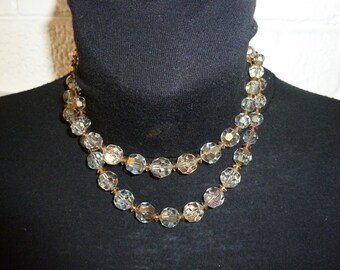 Dazzling Art Deco Bicone Beaded Necklace! Strung on Double Chain. Sparkles!