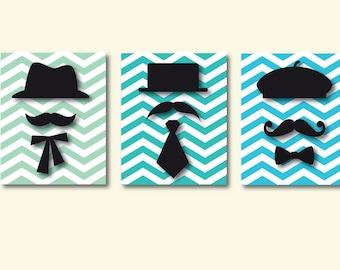 Mustaches Print, Kids Modern Art Print, Chevron Art Print, 562
