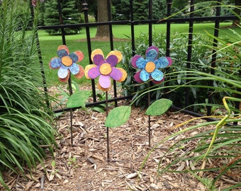 Metal Garden Art Flower Garden Stake Pink, Purple, Orange and Yellow Flower
