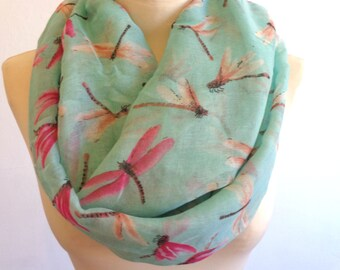 Dragonfly print infinity scarf, spring scarf, dragonfly scarf, print scarf women, loop scarf, mint green scarf
