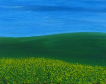 green field, landscape, painting, original oil painting small 15 x 32 cm, green