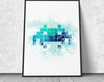 Space Invader Print, watercolor illustration, giclee art print, video games decor, retro gaming, 8 bit, wall decor