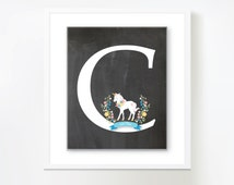 Initial Wall Art - Unicorn, Customized Printable DIY
