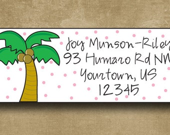 Palm Tree Address Labels, Beach Stickers, Palm Tree Stickers, Personalized Address Labels, Custom Mailing Stickers, Return Address Labels