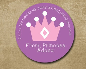 Crown Birthday Stickers, Personalized Gift Stickers, Princess Stickers, Custom Birthday Stickers, Crown Labels, Party Favor Stickers Crown