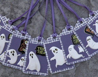 Halloween tags - GHOSTS!  Choose Purple, Orange or Green Background