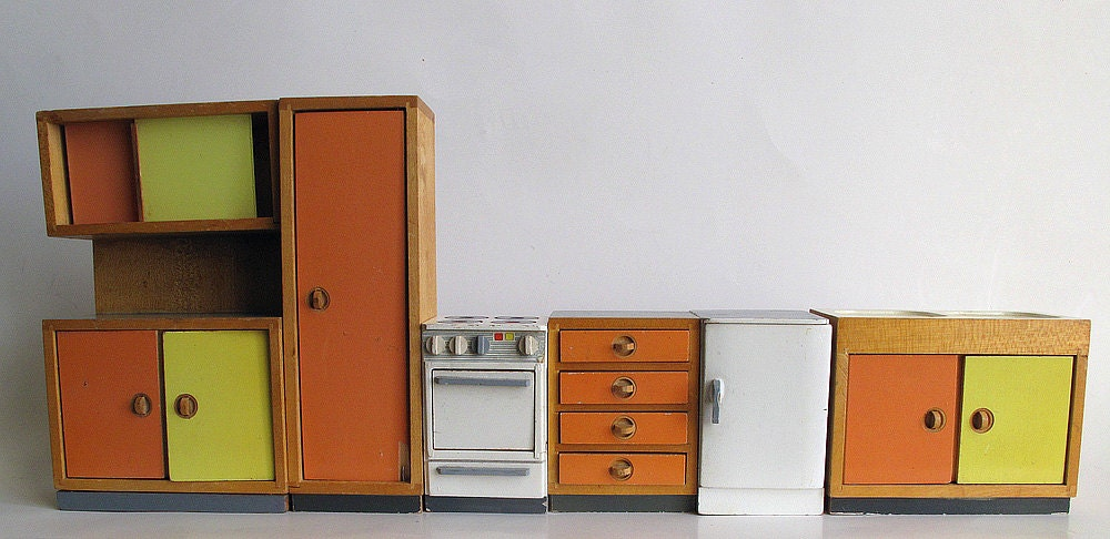 vintage bodo hennig dollhouse furniture midcentury modern. Black Bedroom Furniture Sets. Home Design Ideas