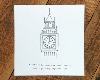Big Ben Birthday Card; London Card; Love London; Loves London; Palace Of Westminster; GC188