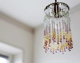 Glass beaded pendant light shade - 01