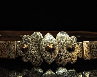 Antique original perfect silver niello caucasian belt