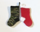 Mini Christmas Stockings, Crochet Stocking, Handmade Christmas Ornament