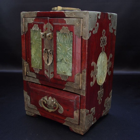 Chinese Antique Vintage Wooden Jewelry Accessory Box W