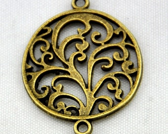 15pcs Antique Bronze Filigree Round Tree Charm Pendants---24*30mm-----G458