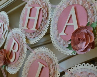 Pink and cream Happy Birthday banner