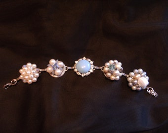 vintage upcycled blue and white pearl clip earring bracelet
