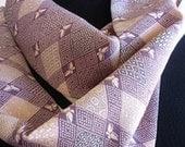 Silk scarf upcycled from vintage Japanese kimono. Mauve, pink, grey and cream geometric print.