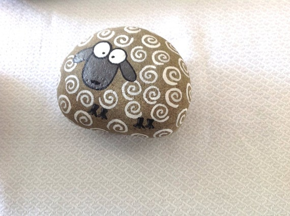 Decorative Craft Stones And Gravel : Hand painted rock stone sheep beach gift