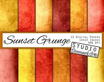 Sunset Grunge Digital Scrapbook Paper - 12 Designs  - Commercial Use - 12x12in - 300 dpi Jpg - Instant Download