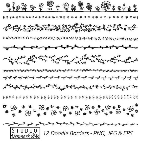 I Designed A Vintage Looking Border Art For You To Use In: Floral Doodle Borders Clipart Set Commercial Use 12 Flower