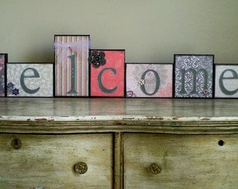 Welcome Decorated Wood Blocks