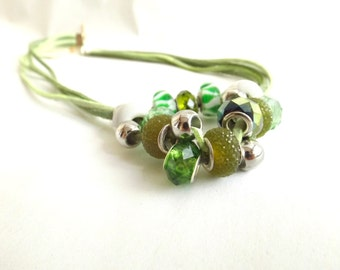 Green necklace  ribbons of Alcantara. Nature necklace. glass pendant