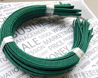 25PCS Green Satin Covered Headband 5mm Wide