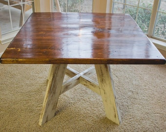 Custom Handmade, Solid Wood, Square Kitchen/Dining Table with Rustic Finish