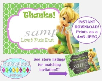 Tinkerbell Inspired Thank You Notes, Fairy Party, Party Printables, 4x6 Thank You Card