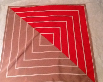 Red and tan geometric design square scarf by Vena