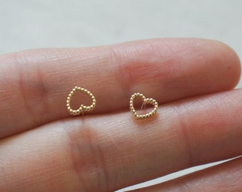 10K Gold tiny hollow heart stud earrings, solid Gold, 10k real Gold - TG062