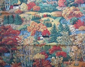 Autumn Woodland Scene Fabric - Pumpkins, Deer Pheasants - Quality Quilters Cotton - 1.5 Yards onlu