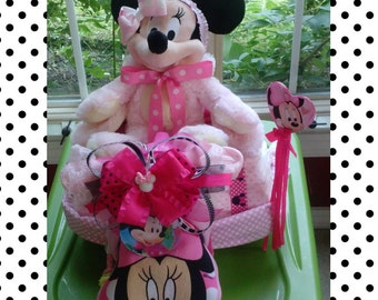 Minnie Mouse Pink  tricycle diaper cake