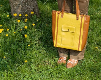 Brown & yellow leather tote bag. Everyday leather handbag. Leather shoulder bag. READY TO SHIP