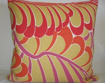 Pillow Cover with Zipper - 20x20 - Accent Pillow - Gold- Orange - Pink - Red -Mod Feather