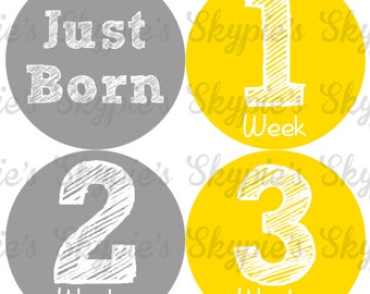 INSTANT DOWNLOAD DIY Monthly Stickers for Baby Monthly Milestone Stickers Month Stickers Baby Shower Gift - Back to Backs Yellow & Gray