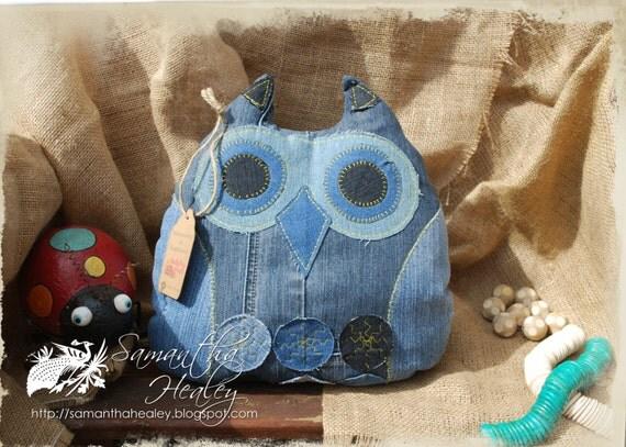 Denim Owl Doorstop