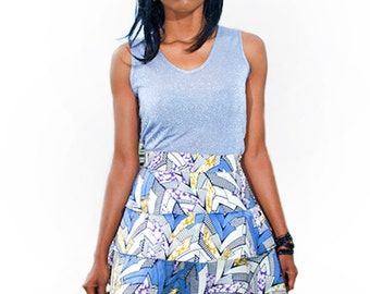 Blue White African Tribal Print 3 tiered Skirt UK size 8/ US 4